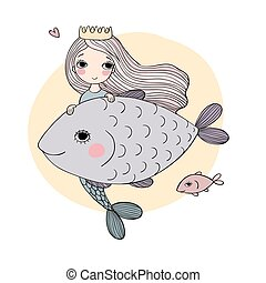 Cute cartoon mermaid and fish. Siren. Sea theme. isolated...