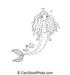 Cute cartoon mermaid and fish. Siren. Sea theme. isolated...