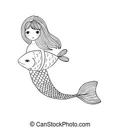 Cute cartoon mermaid and fish. Siren. Sea theme. isolated objects on white background.