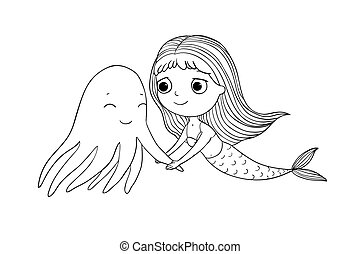 Cute cartoon mermaid and octopus. Siren. Sea theme. Hand drawing isolated objects on white background.