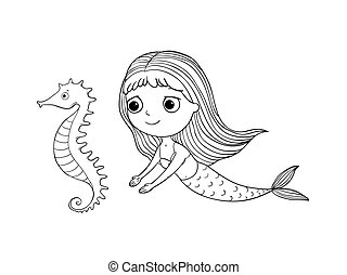 Cute cartoon mermaid and sea horse. Siren. Sea theme. Hand drawing isolated objects on white background. Vector illustration.