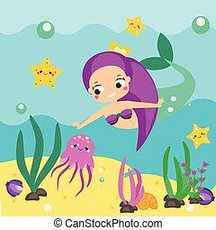 Cute cartoon mermaid exploring underwater world