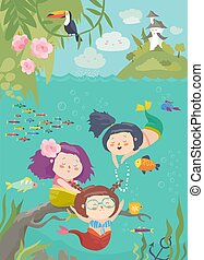 Cute cartoon mermaids with beautiful underwater world