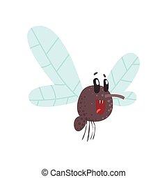 Cute cartoon midge character vector Illustration isolated on...