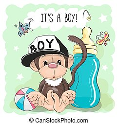 Cute Cartoon Monkey boy