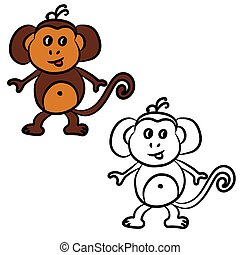 Cute cartoon monkey. Coloring book