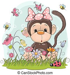 Cute Cartoon Monkey on a meadow