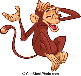 Cute cartoon monkey sitting