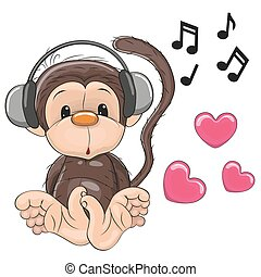 Monkey with headphones