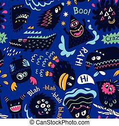 Cute cartoon monster characters background. Vector illustration