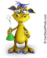 A cute cartoon monster wearing glasses and doing an experiment. He is holding a beaker with smoke coming out from it. White background.