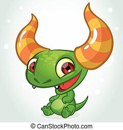 Cute cartoon monster dragon vector