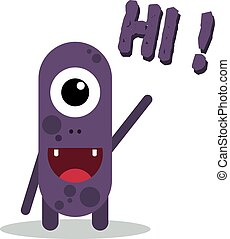Cute Cartoon Monster Flat Design