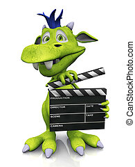 Cute cartoon monster holding a film clapboard.