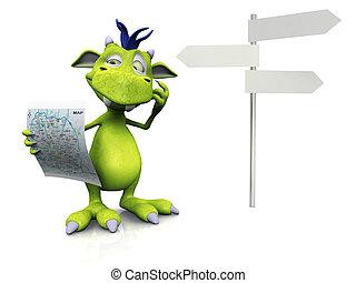 Cute cartoon monster holding a map.