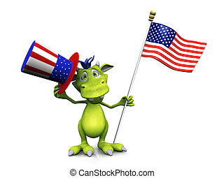 Cute cartoon monster holding an American flag and hat.