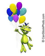 Cute cartoon monster holding balloons.