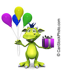 Cute cartoon monster holding balloons and a gift.