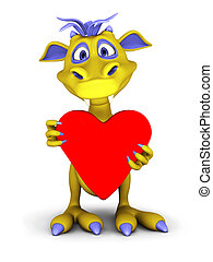 Cute cartoon monster holding big red heart.