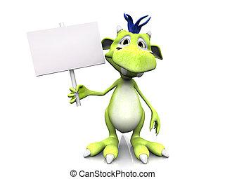 Cute cartoon monster holding blank sign.