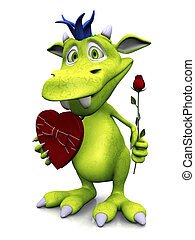 Cute cartoon monster holding rose and chocolate.