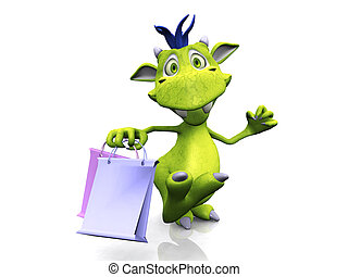 Cute cartoon monster holding shopping bags.