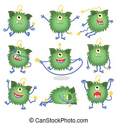 Cute cartoon monster in different poses vector