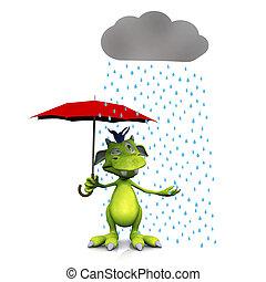 Cute cartoon monster in the rain.