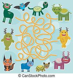 Cute cartoon Monster labyrinth game for Preschool Children. Vector