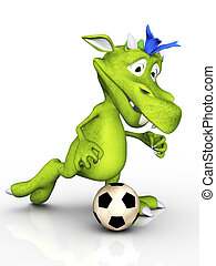 Cute cartoon monster playing soccer.