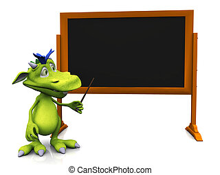 Cute cartoon monster pointing at blank blackboard.