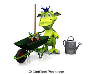 Cute cartoon monster ready for gardening.