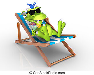 Cute cartoon monster relaxing in a beach chair. - A cute ...