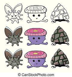 Cute cartoon monster set collection. Hand drawn line and color character design