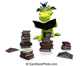 Cute cartoon monster sitting on a pile of books. - A cute...