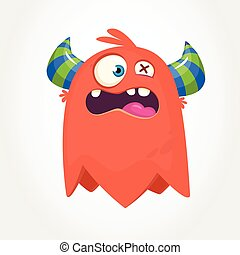 Cute cartoon monster. Surprised flying monster emotion. Halloween vector illustration