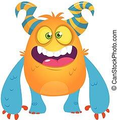 Cute cartoon monster. Vector troll or gremlin character. Halloween design
