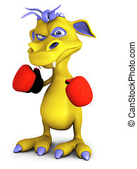 Cute cartoon monster wearing boxing gloves.