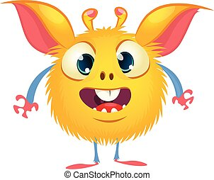 Cute cartoon monster with big eyes. Vector funny monster character