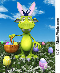 Cute cartoon monster with easter basket.