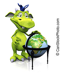Cute cartoon monster with terrestrial globe.