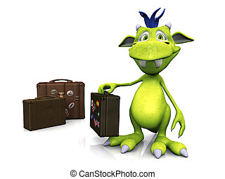 Cute cartoon monster with travel suitcase.