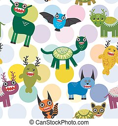Cute cartoon Monsters Set. seamless pattern on white background. Vector
