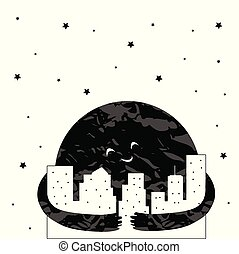 Cute cartoon moon in the night city. Vector illustration on background.
