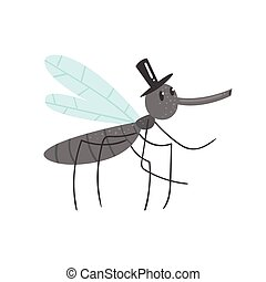 Cute cartoon mosquito character in a black hat vector Illustration