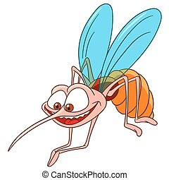 cute happy and hungry bloodsucking cartoon mosquito is ready to bite somebody, isolated on a white background