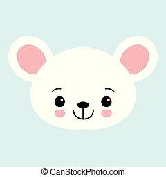 Cute cartoon mouse face. Little kawaii mouse. Vector illustration for children.