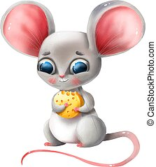 Cute cartoon mouse holds cheese on a white background