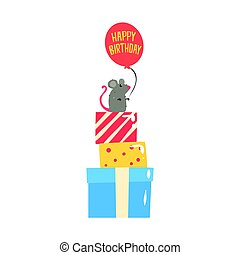 Cute cartoon mouse sitting on colorful gift boxes and holding red balloon. Happy Birthday colorful vector Illustration