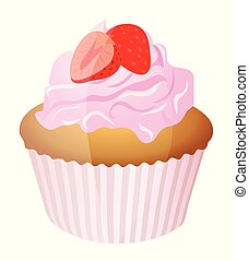 Cute cartoon muffin isolated on a white background. Vector illustration.